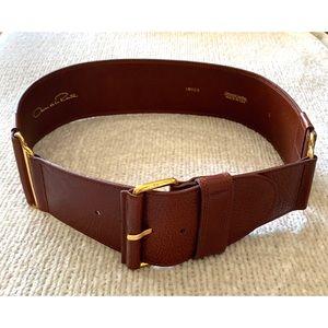 Oscar de la Rent Large Cognac Brown Leather Belt